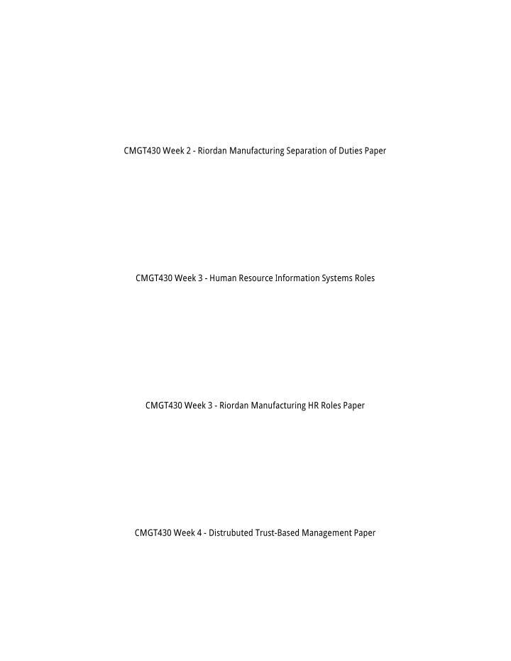 CMGT430 Week 2 - Riordan Manufacturing Separation of Duties Paper