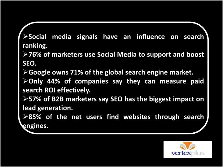 Social media signals have an influence on search ranking.