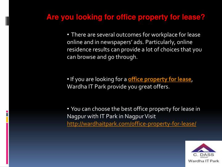 Are you looking for office property for lease?