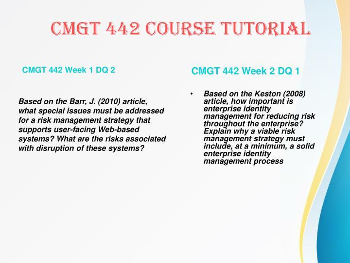 CMGT 442 Week 1 DQ 2