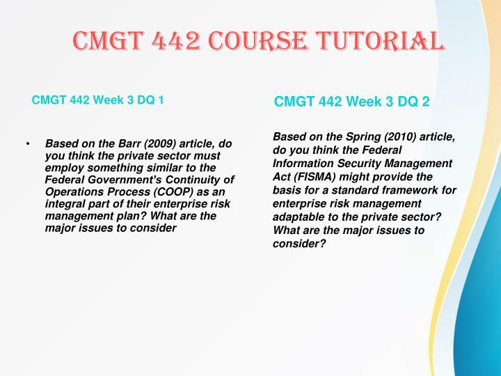 CMGT 442 Week 3 DQ 1