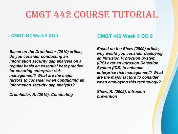 CMGT 442 Week 5 DQ 1