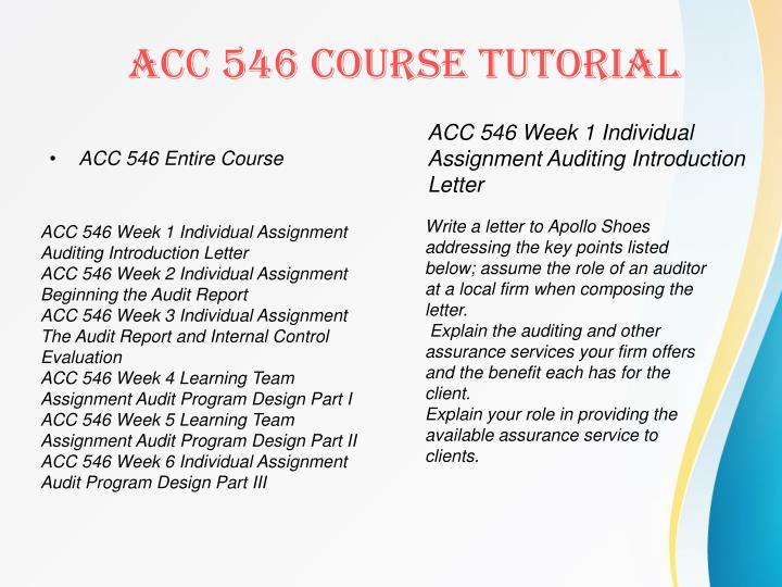 ACC 546 Entire Course