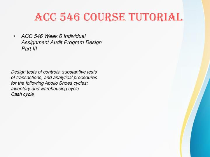 ACC 546 Week 6 Individual Assignment Audit Program Design Part III