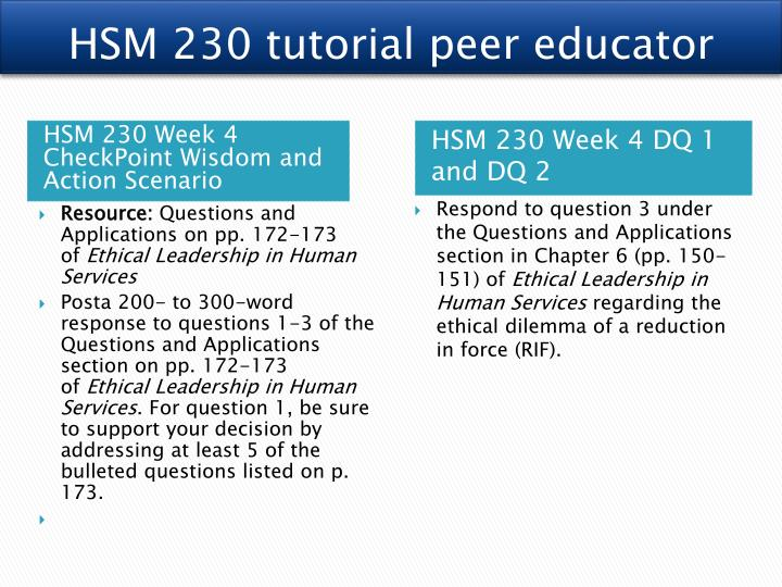 HSM 230 tutorial peer