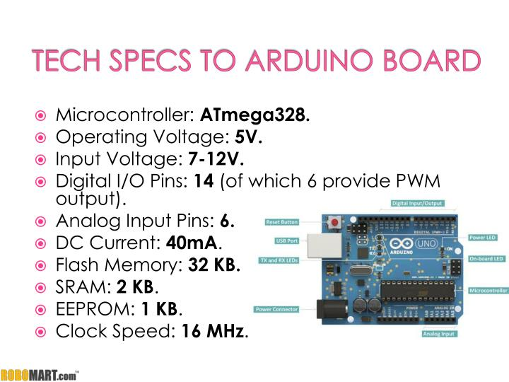 Tech specs to arduino board