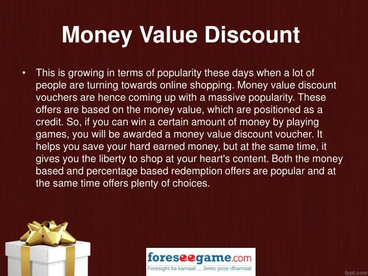 Money Value Discount
