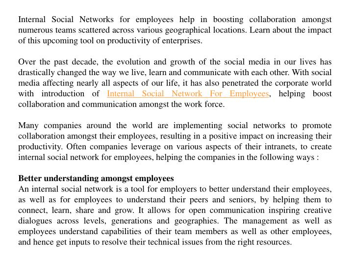 Internal Social Networks for employees help in boosting collaboration amongst