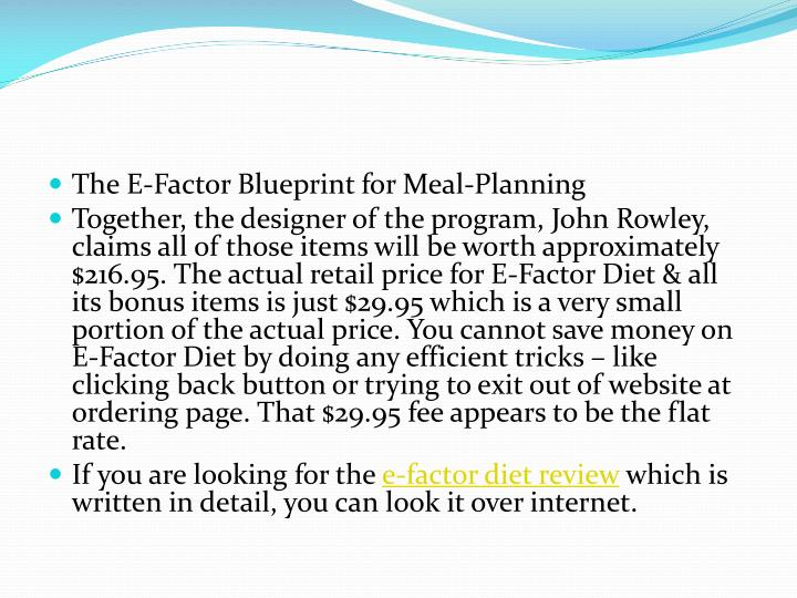 The E-Factor Blueprint for Meal-Planning