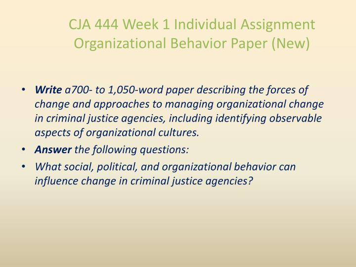 CJA 444 Week 1 Individual Assignment Organizational