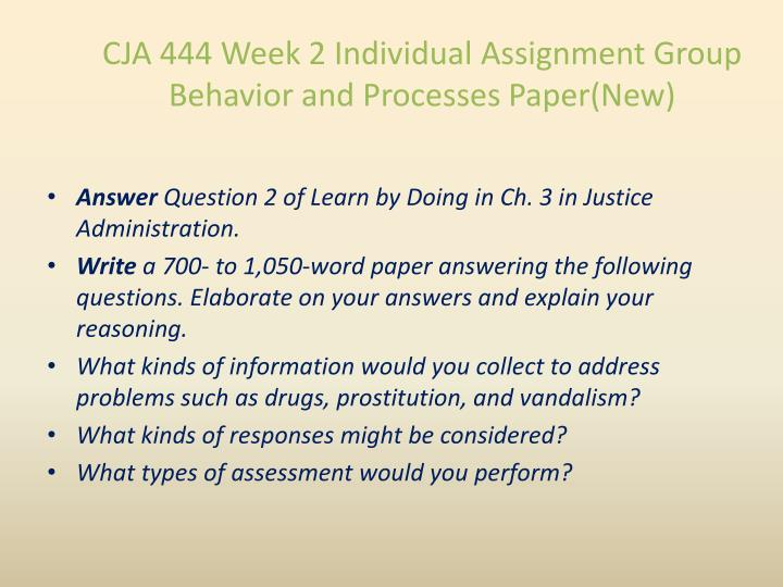CJA 444 Week 2 Individual Assignment Group
