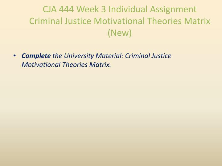 CJA 444 Week 3 Individual Assignment Criminal Justice Motivational Theories Matrix (New)