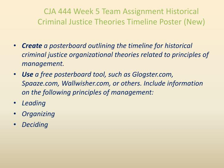 CJA 444 Week 5 Team Assignment Historical Criminal Justice Theories Timeline Poster (New)