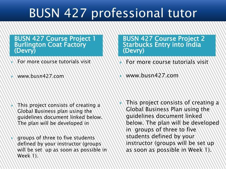 BUSN 427 Course Project 1 Burlington Coat Factory (Devry)