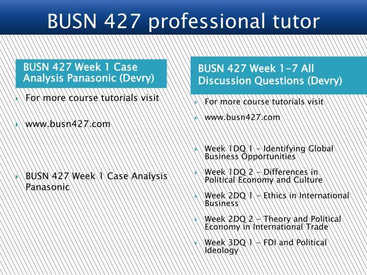 BUSN 427 Week 1 Case Analysis Panasonic (Devry)