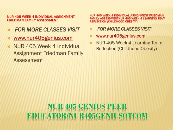 NUR 405 Week 4 Individual Assignment Friedman Family Assessment