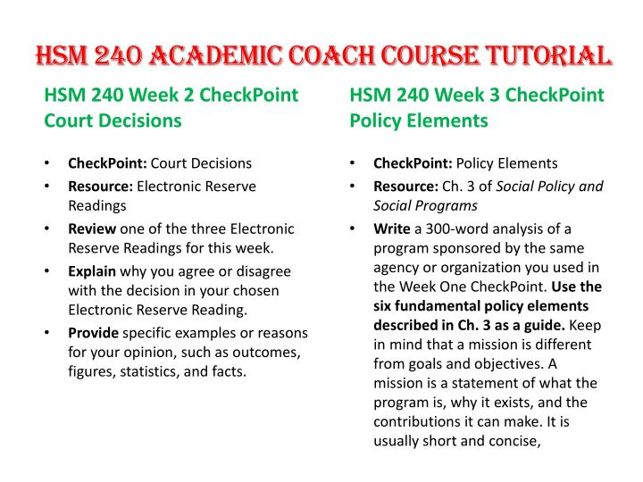 HSM 240 Academic