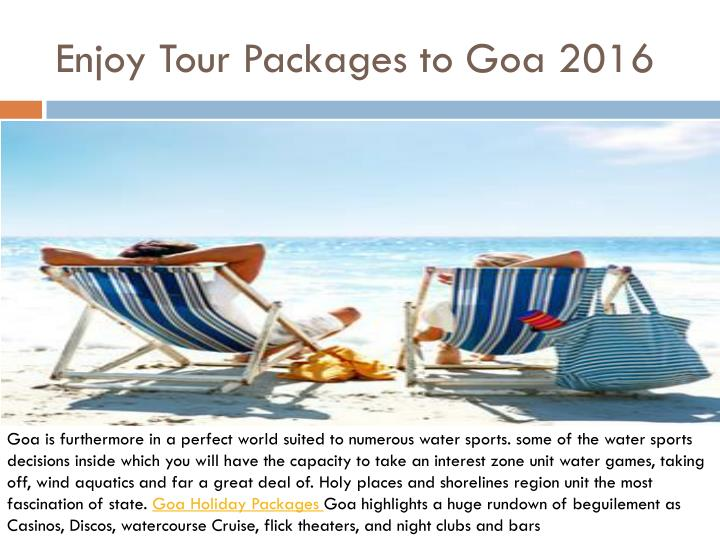 enjoy tour packages to goa 2016