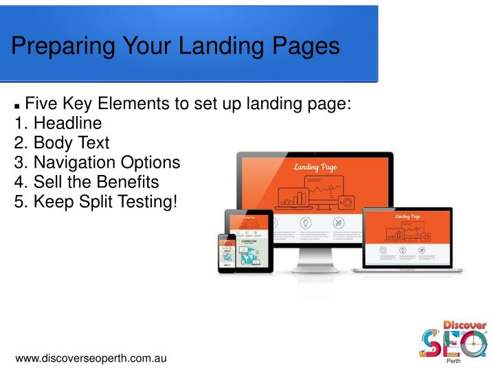 Five Key Elements to set up landing page:
