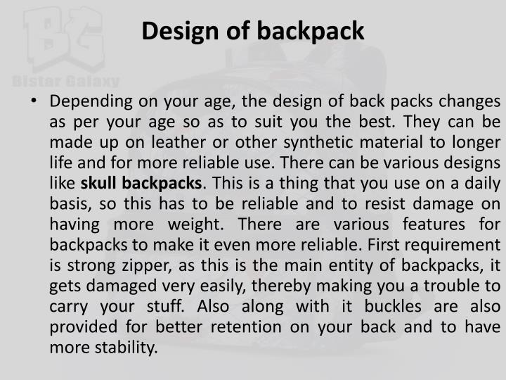 Design of backpack