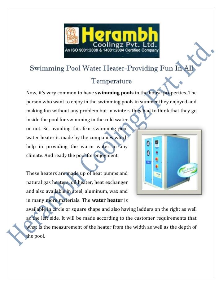 Swimming Pool Water Heater-Providing Fun In All