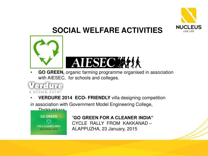 SOCIAL WELFARE ACTIVITIES