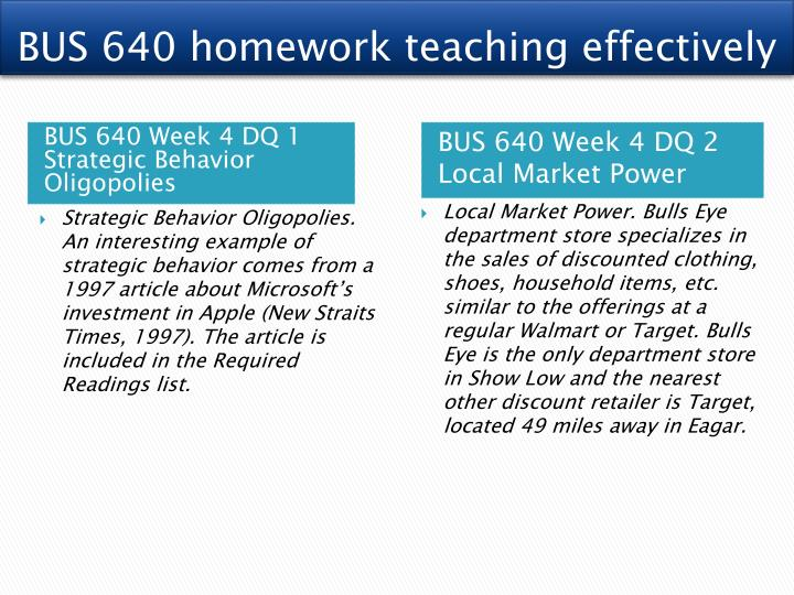 BUS 640 homework teaching effectively
