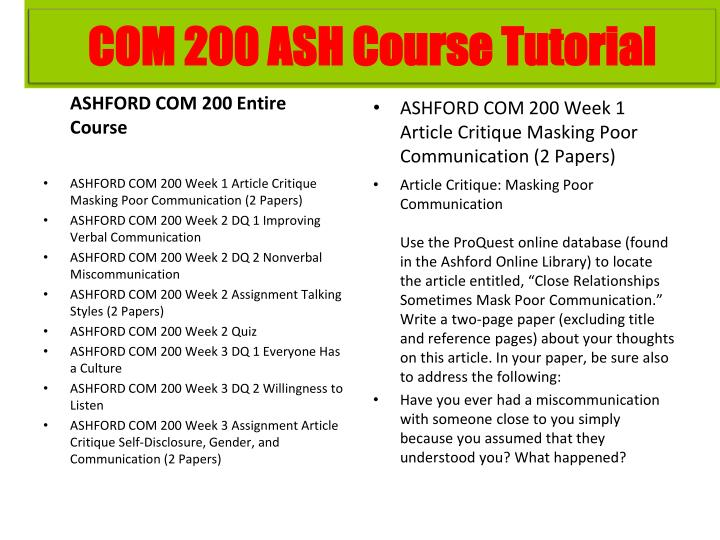 ASHFORD COM 200 Entire Course