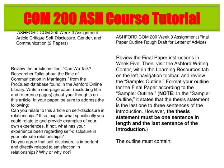 COM 200 ASH Course Tutorial