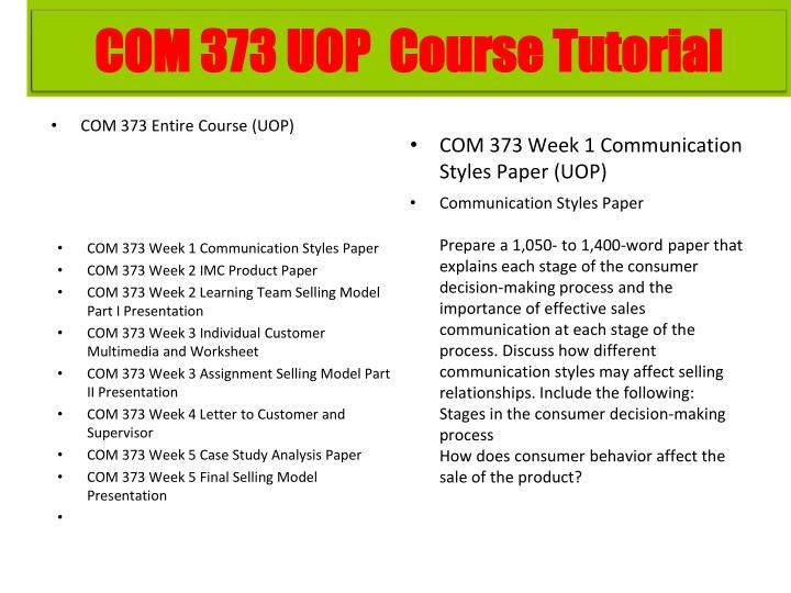 COM 373 Entire Course (UOP)