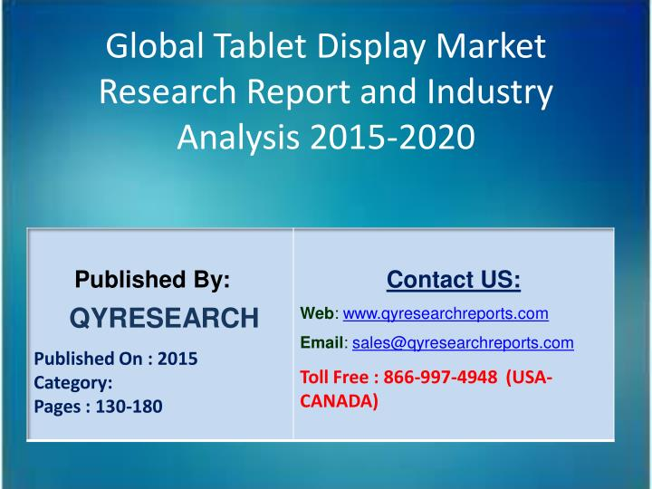 Global Tablet Display Market