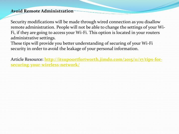 Avoid Remote Administration