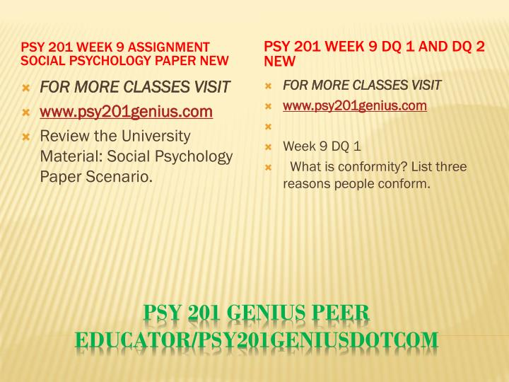 PSY 201 Week 9 Assignment Social Psychology Paper New