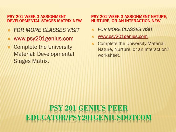 PSY 201 Week 3 Assignment Developmental Stages Matrix New