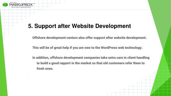5. Support after Website Development