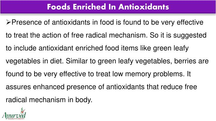 Foods Enriched In Antioxidants