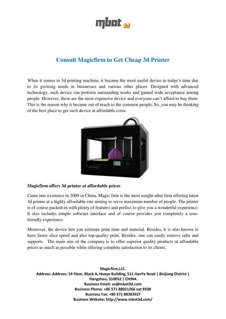 Consult Magicfirm to Get Cheap 3d Printer