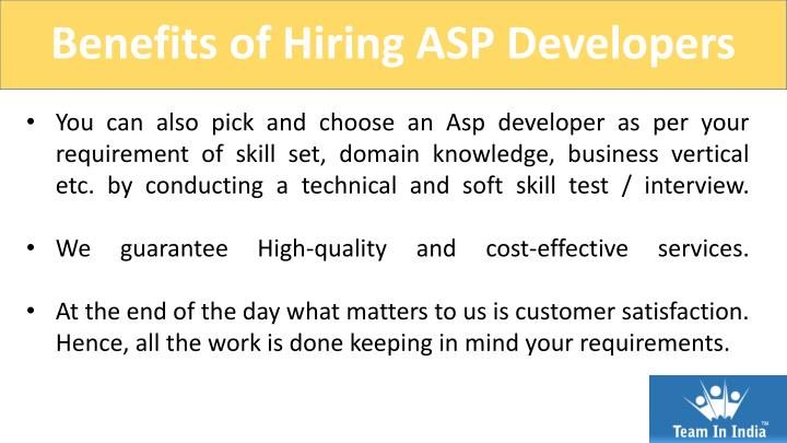 Benefits of Hiring ASP Developers
