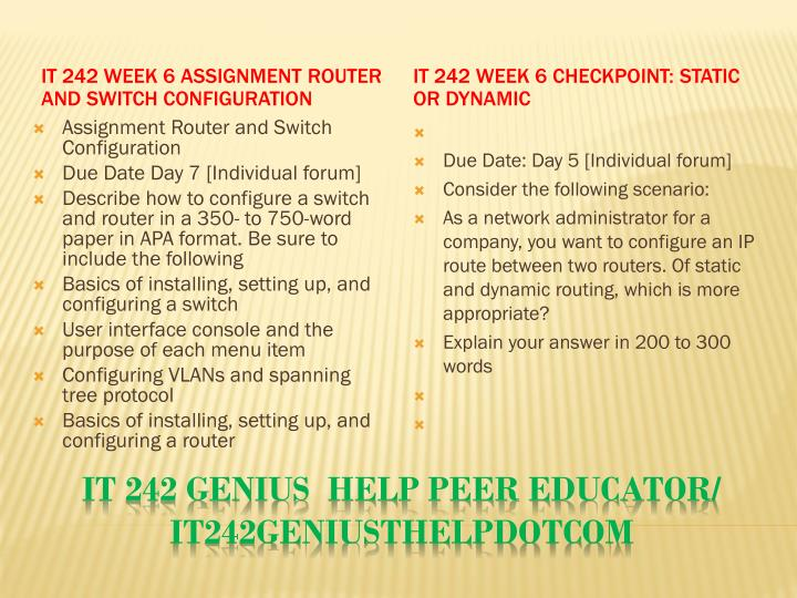 IT 242 Week 6 Assignment Router and Switch Configuration