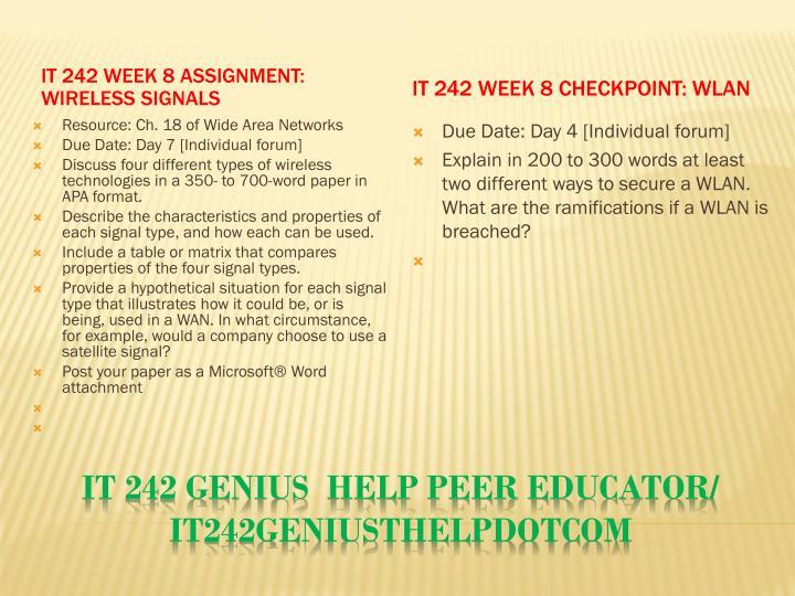 IT 242 Week 8 Assignment: Wireless Signals