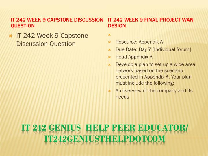 IT 242 Week 9 Capstone Discussion Question