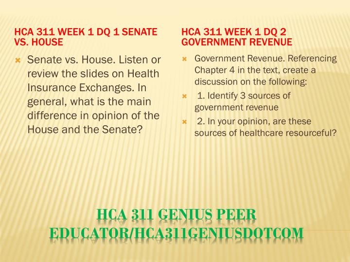 HCA 311 Week 1 DQ 1 Senate vs. House