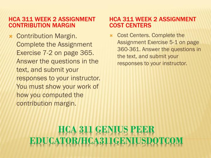 HCA 311 Week 2 Assignment Contribution Margin