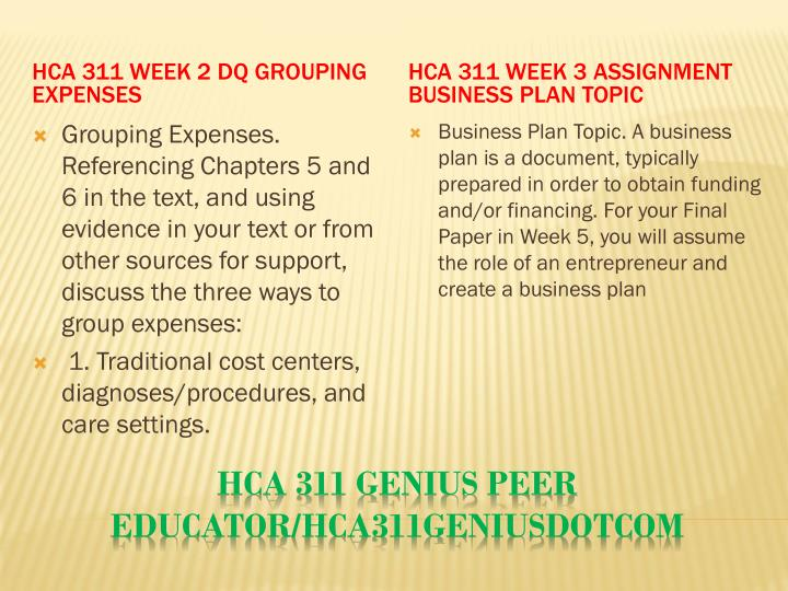 HCA 311 Week 2 DQ Grouping Expenses