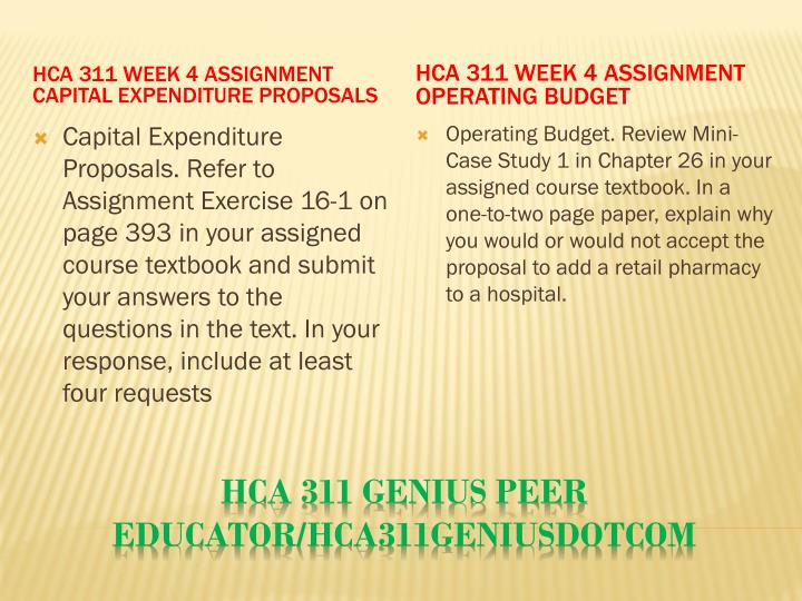 HCA 311 Week 4 Assignment Capital Expenditure Proposals