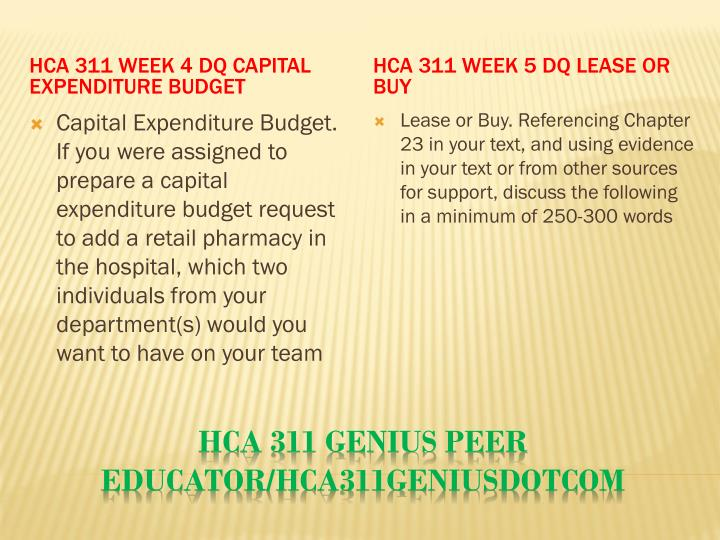 HCA 311 Week 4 DQ Capital Expenditure Budget