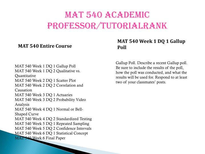 mat540 statistics concepts for research paper