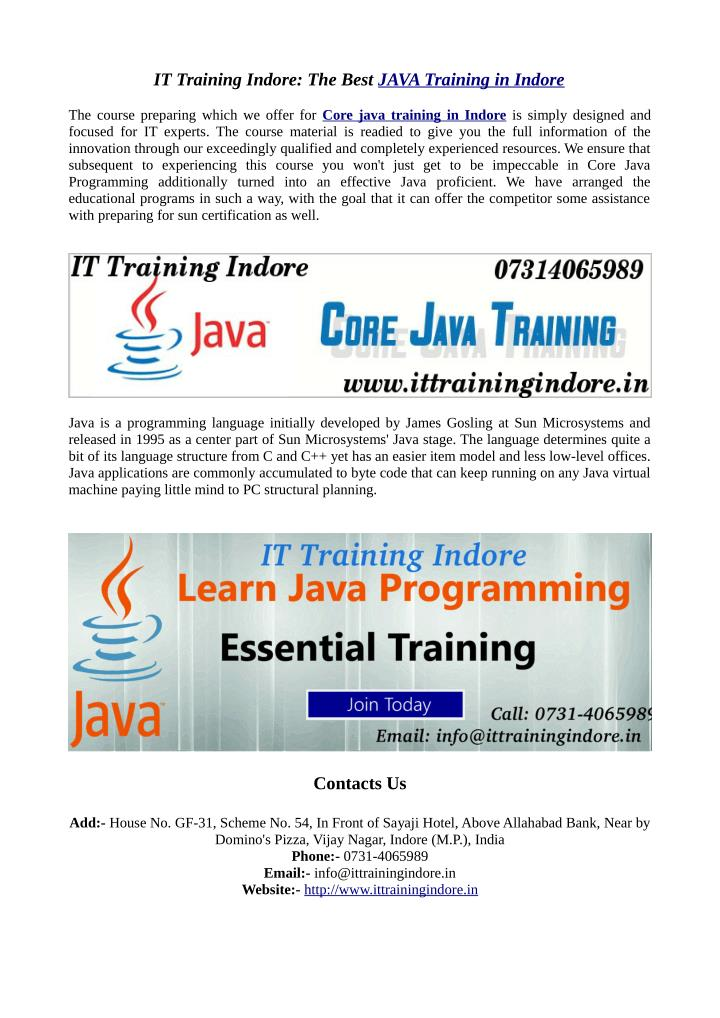 IT Training Indore: The Best JAVA Training in Indore