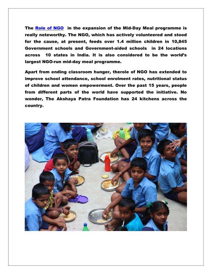The Role of NGO  in the expansion of the Mid-Day Meal programme is