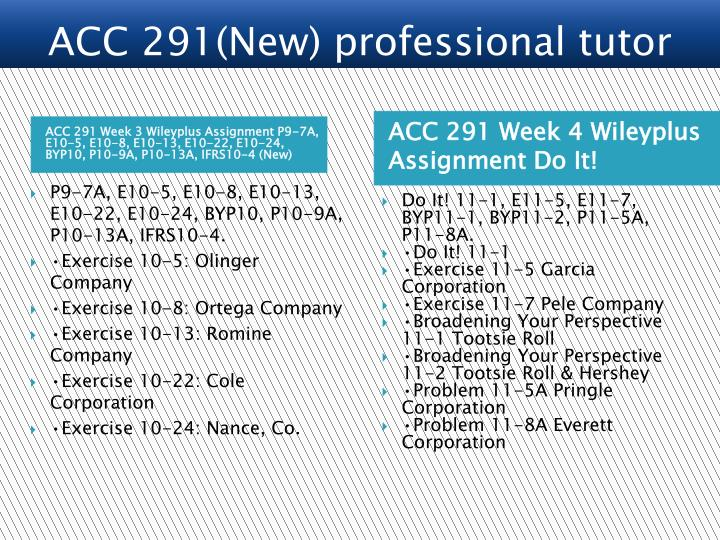 ACC 291 Week 3 Wileyplus Assignment P9-7A, E10-5, E10-8, E10-13, E10-22, E10-24, BYP10, P10-9A, P10-13A, IFRS10-4 (New)